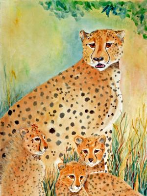 Cheetah Mother and Cubs