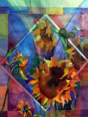 Sunflowers Under Glass