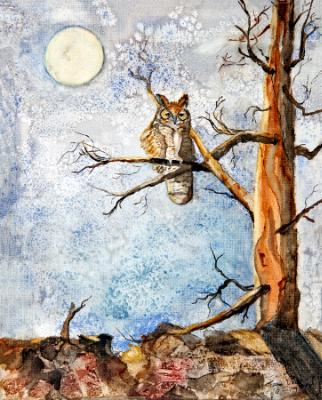 Great Horned Owl and the Moon