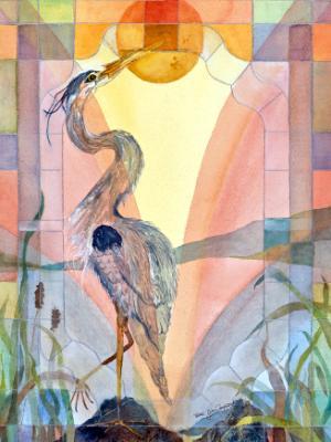 Heron Under Glass